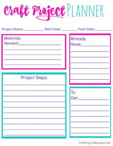 craft project planner printable crafty life mom