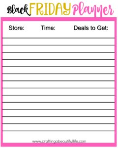Black Friday Shopping Plan