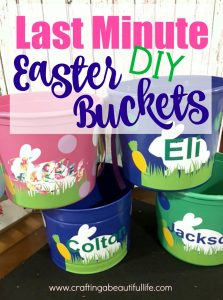 East Bucket DIY with vinyl and plastic buckets. Quick project with vinyl.