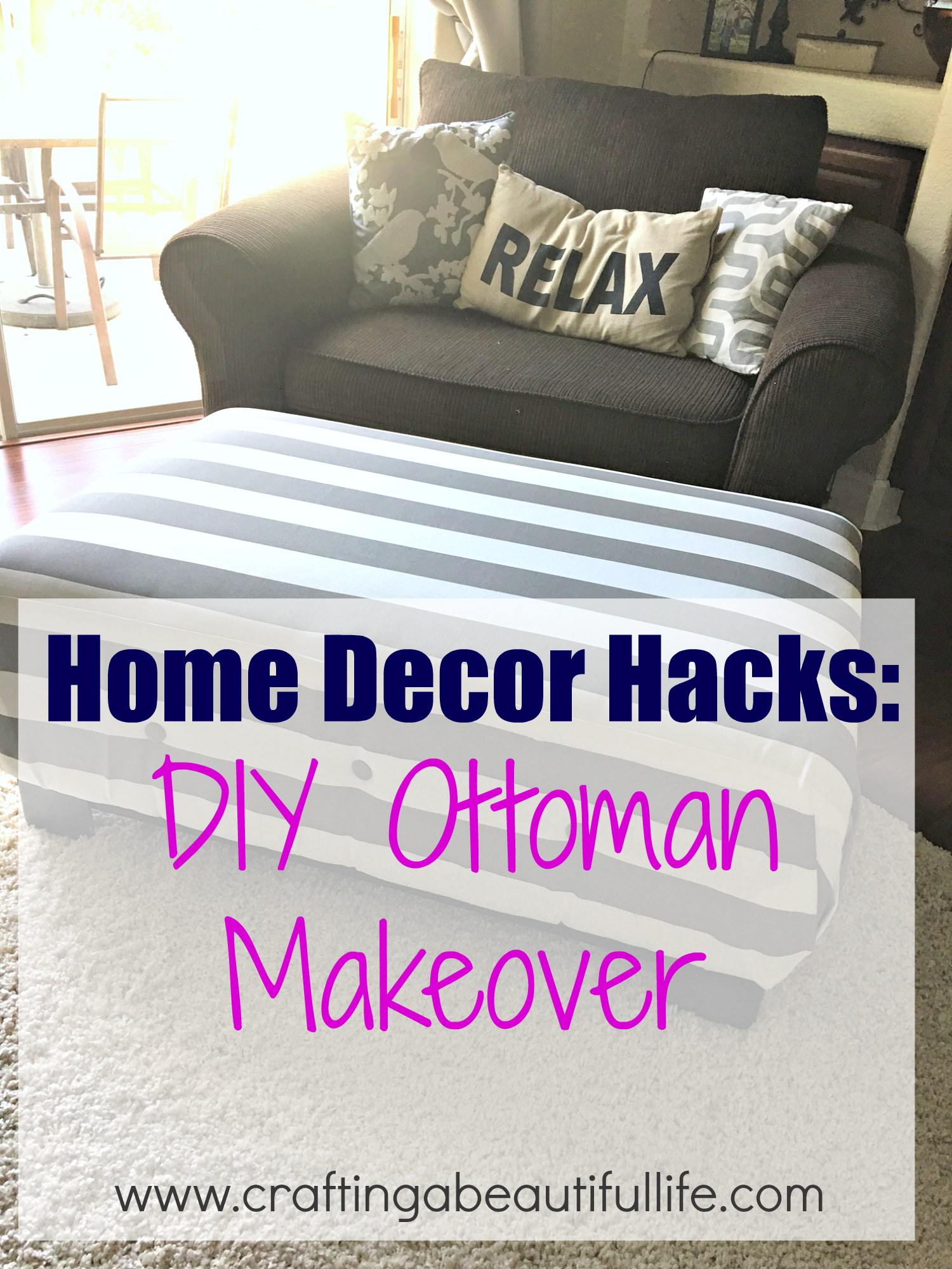 Home decor hacks for recovering an old ottoman in your home for Home decor hacks