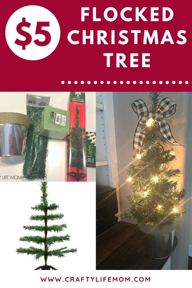 $5 Flocked Christmas Tree using items all form the Dollar Tree. Follow this tutorial to see the fulllist of supplies and how to create your own DIY flocked Christmas Tree