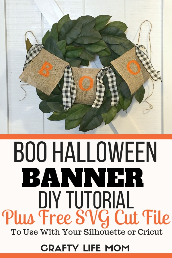 Boo Halloween Banner DIY: Create this simple and quick Boo Halloween banner suing this free SVG cut file and printable download. Super cute for Halloween Home decor.