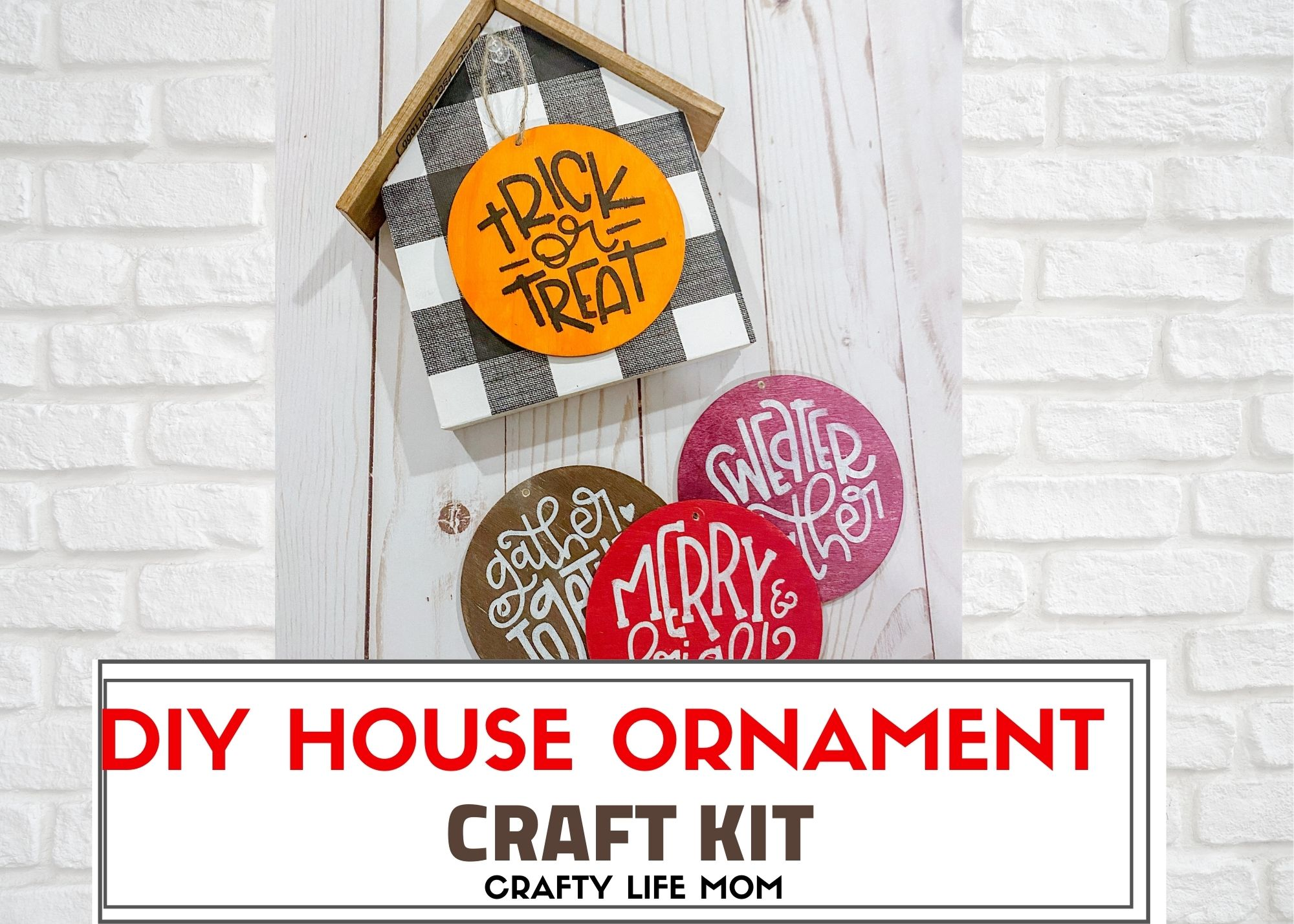 Create this cute DIY Ornament House using this easy to follow craft kit and simple stenciling technique. This kit has everything you need to make the interchangeable ornaments for the upcoming holiday seasons.