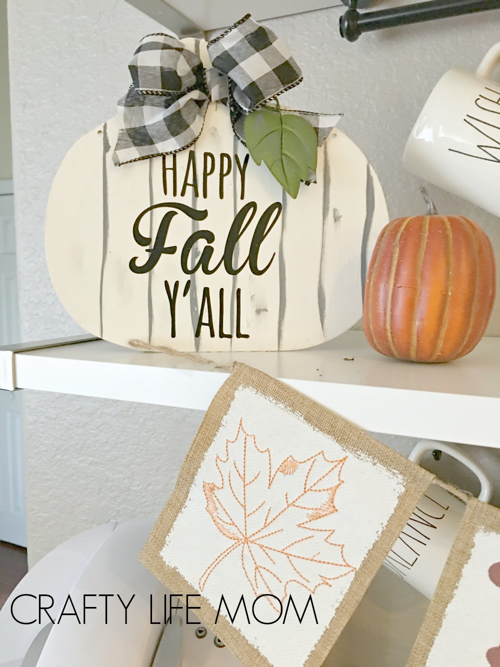DIY Fall Pumpkin Sign. Make this super cute DIY Fall sign using a few items form the Dollar Tree
