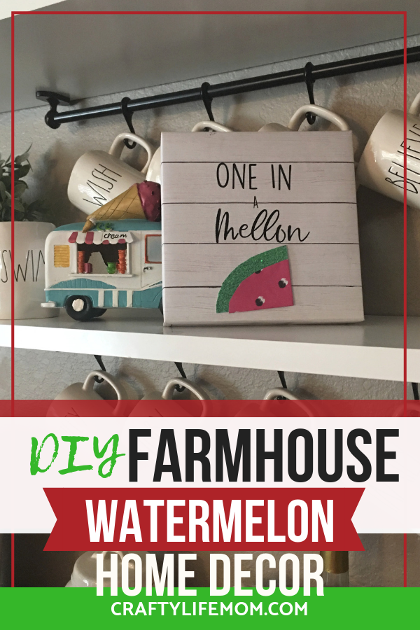 "Create this DIY Farmhouse ""One in a Melon"" watermelon Summer decor sign to display in your home for the Summer Season this year."
