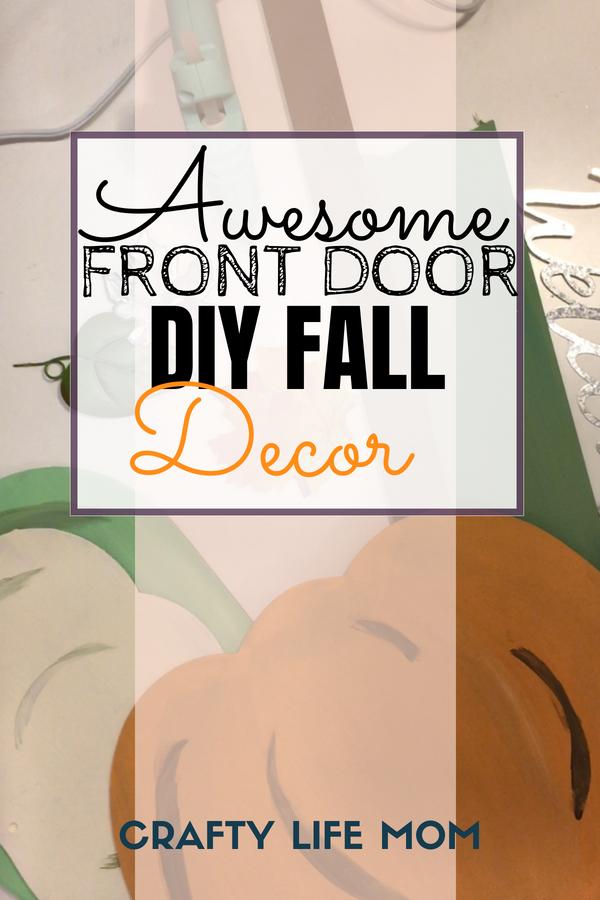 DIY pumpkin Front Door Fall decor using items from the Dollar Tree