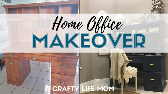 DIY Home Office Makeover. Paint an old desk form Facebook marketplace and simply update your workspace into something beautiful #homeofficemakeover