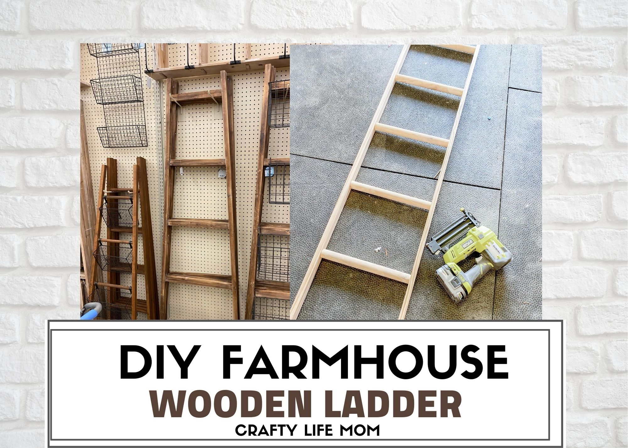 Create a Wood Farmhouse Ladder using this DIY tutorial. It is very simple and easy to make without the hefty price tag from a home decor store. I show you how I used an old curtain rod and a few pieces of wood trim to make this Wood Farmhouse Ladder.