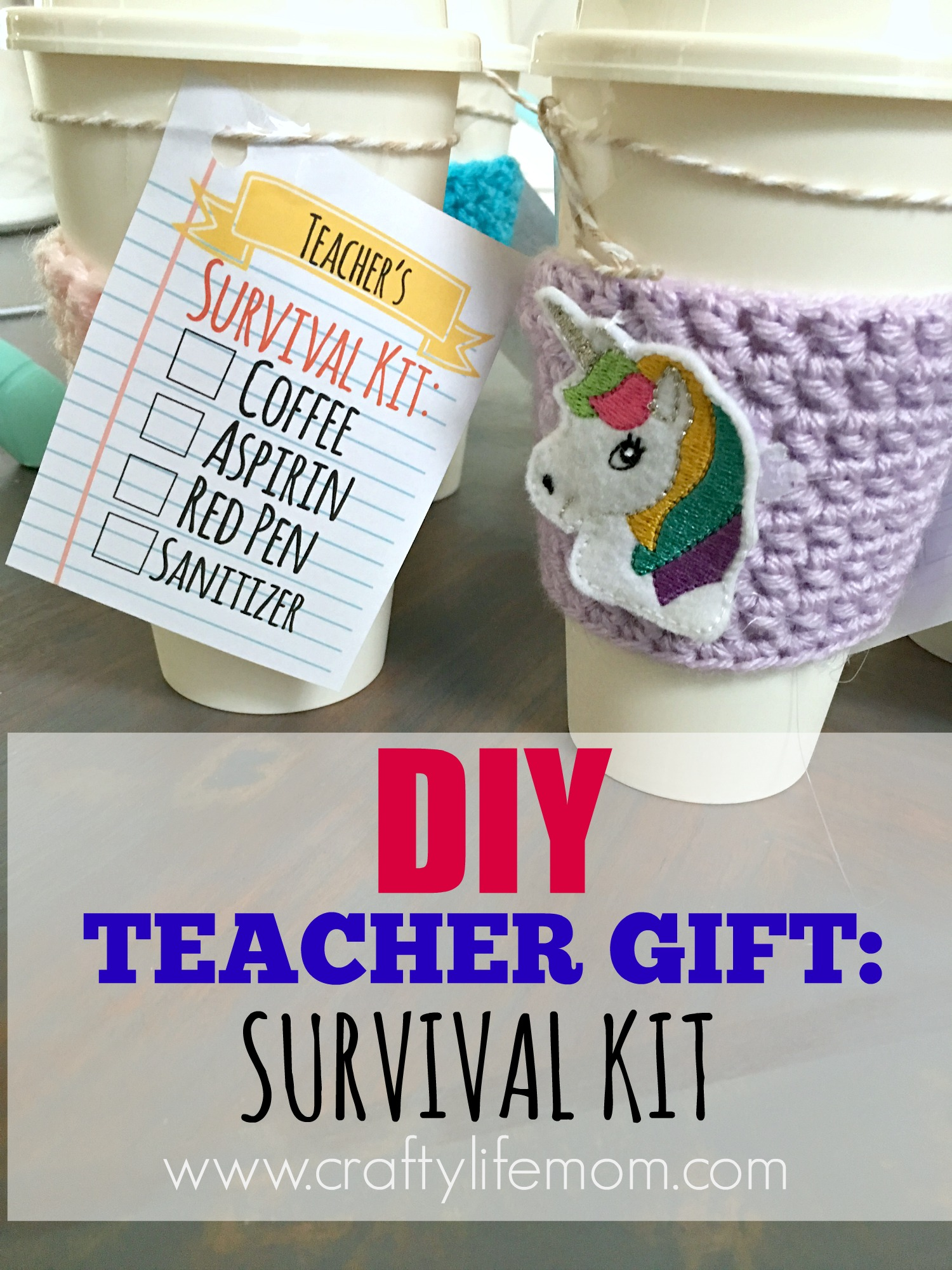 DIY Teacher Gift: Coffee Survival kit you can make in minutes using items form the dollar tree.
