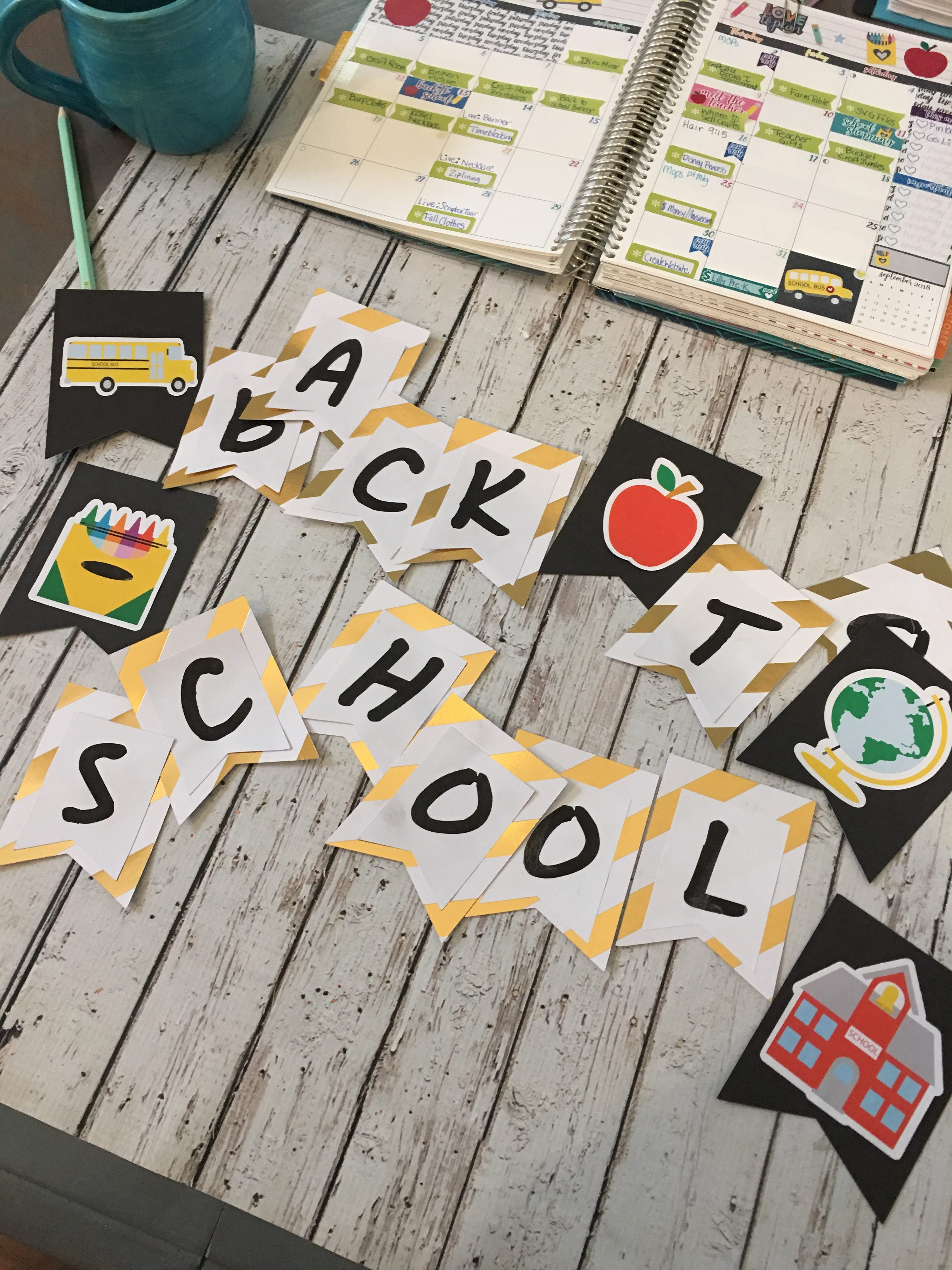 FREE Back to school Banner that you can download and print. Includes FREE SVG files and Silhouette Cut files.