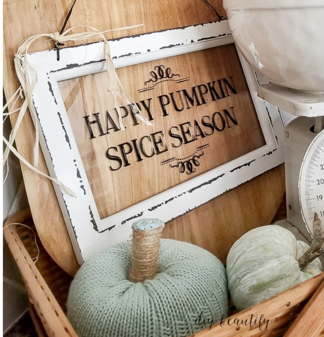 DIY Pumpkin Spice Sign - make your own using this tutorial and a few items from the Dollar Tree.