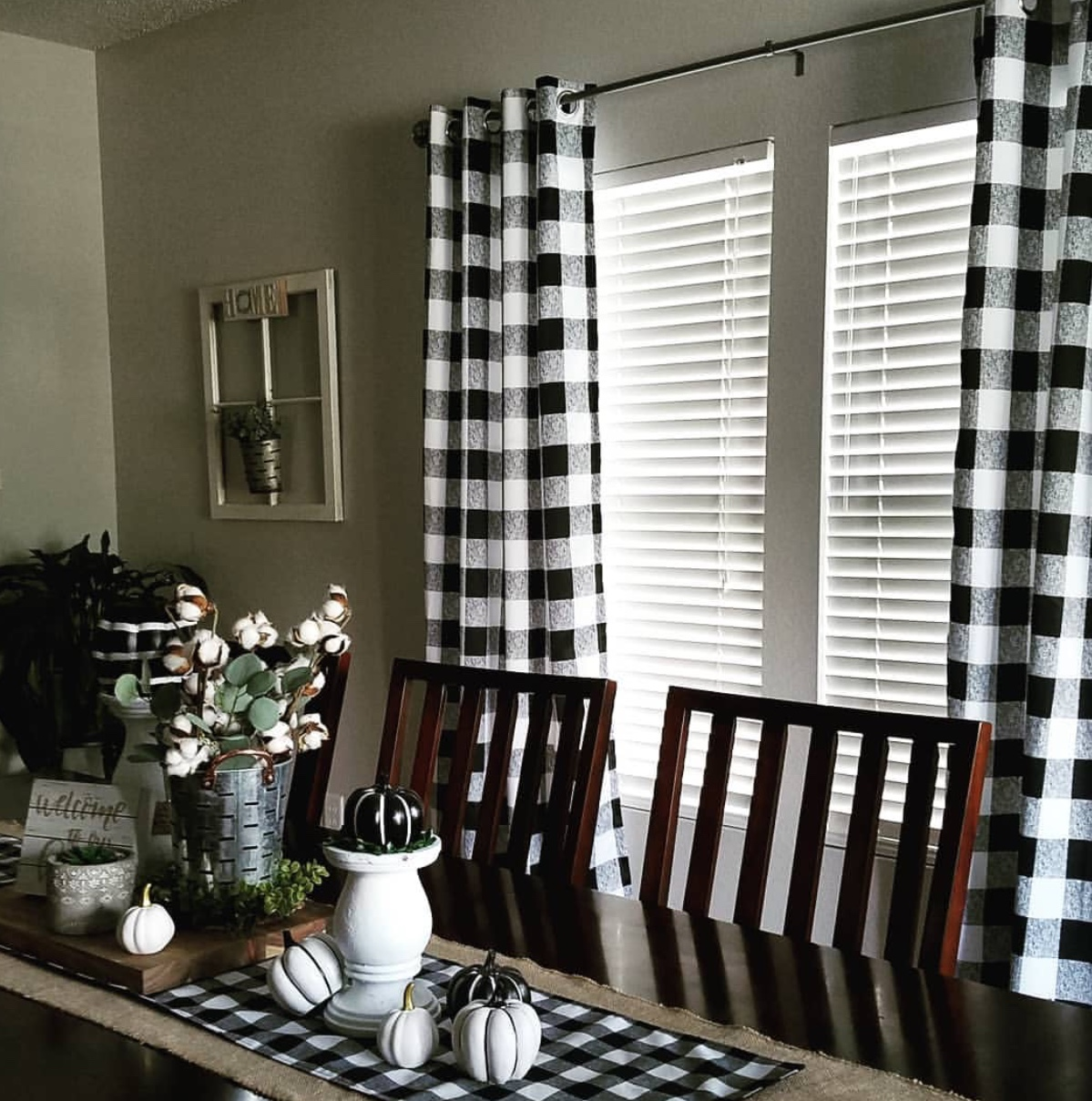 Buffalo check plaid curtains add the farmhouse look to your home all year round!