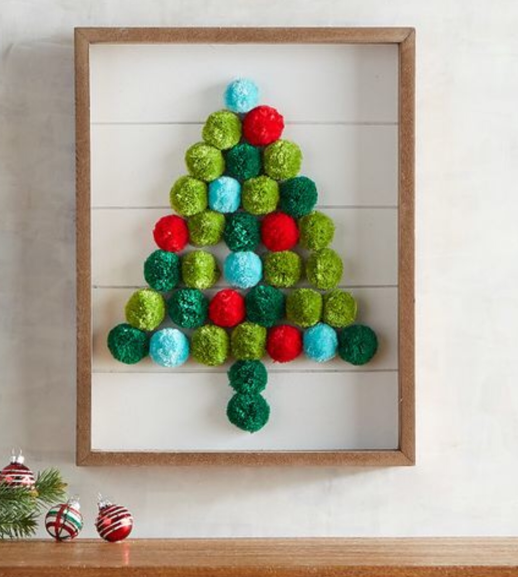 Re create this Pier One Pom Pom Christmas Tree using items form the Dollar Tree.