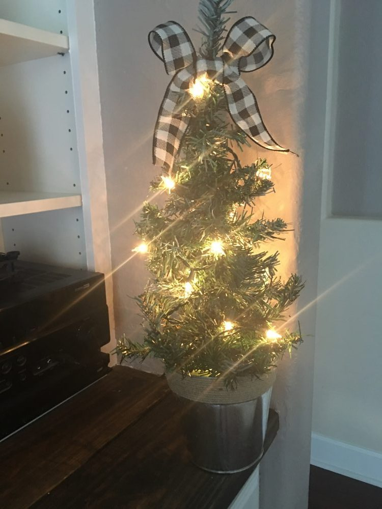 DIY Flocked Christmas Tree tutorial using items form the Dollar Tree