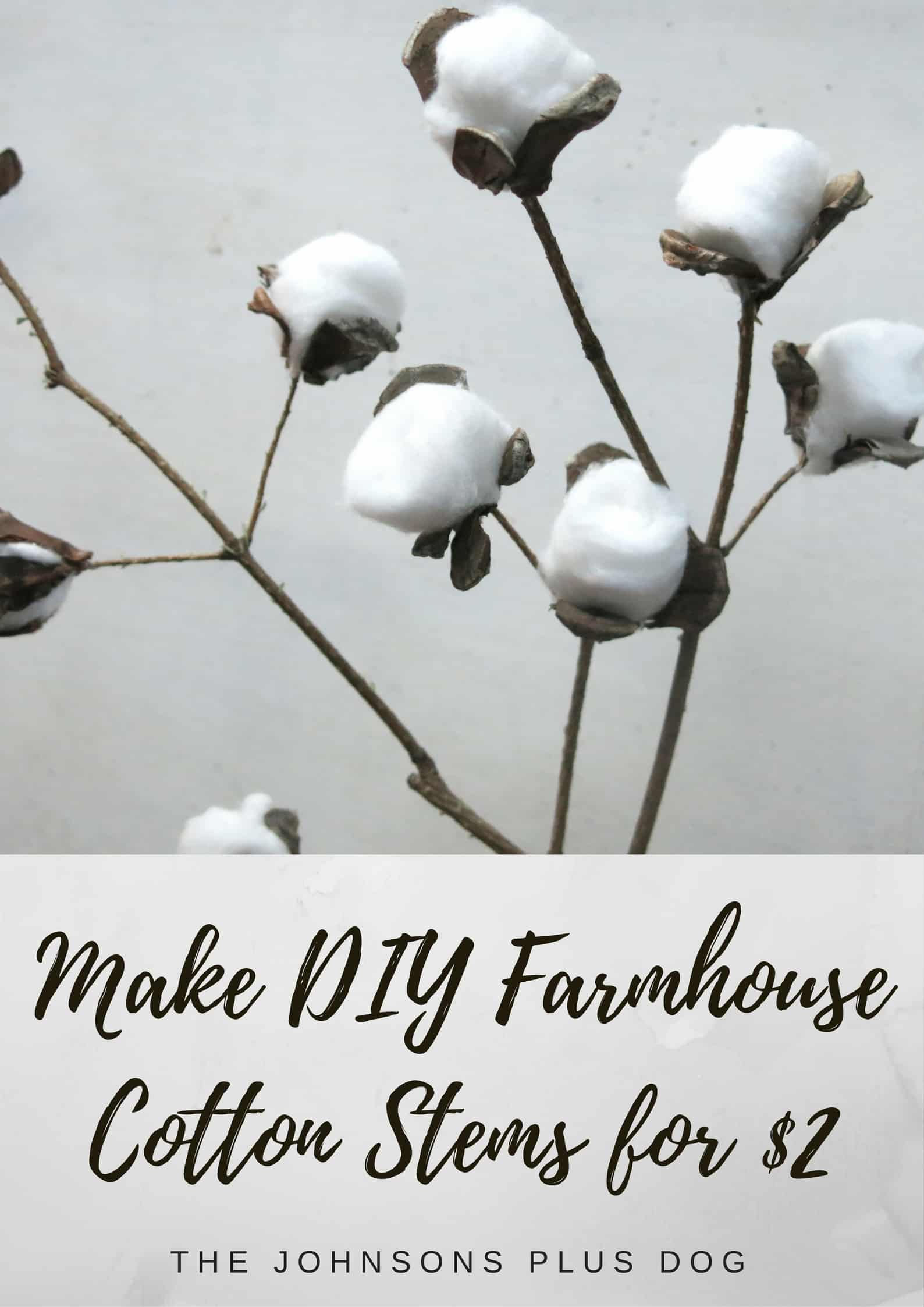 Dollar Tree crafts: making farmhouse cotton stems using this tutorial.