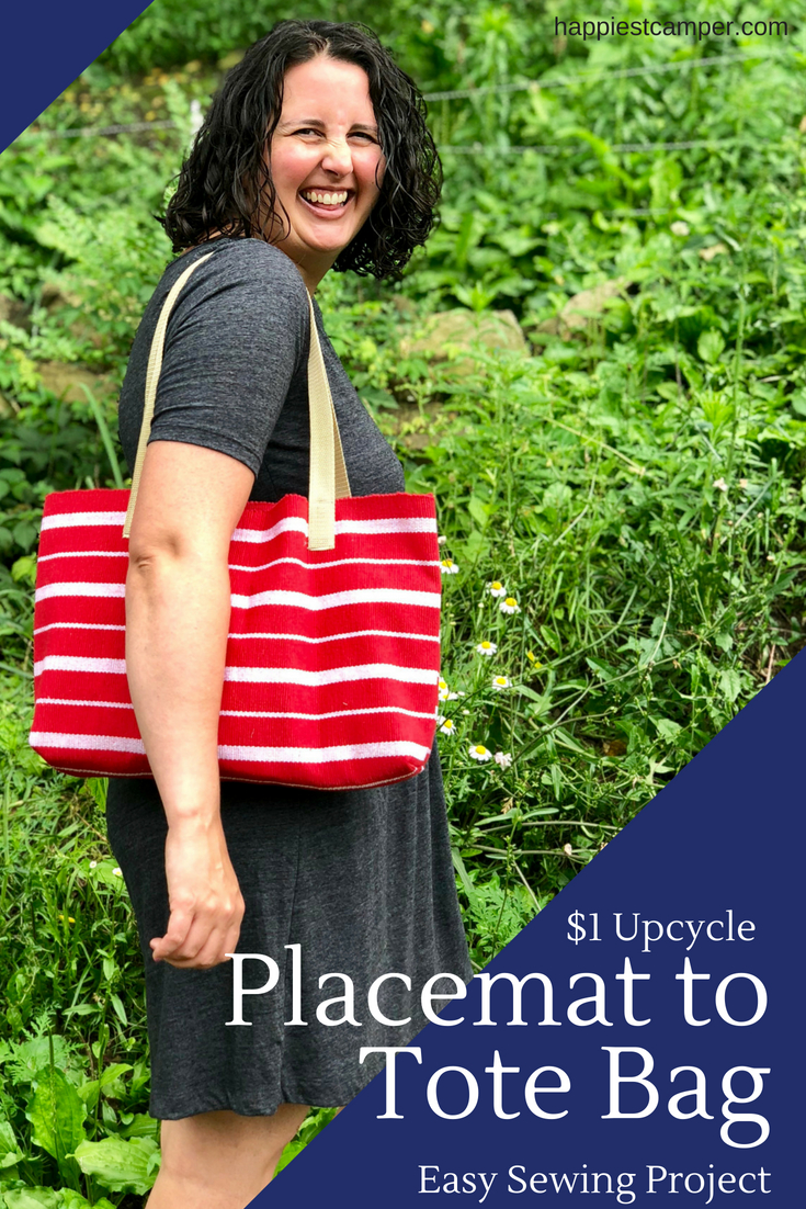 Dollar Tree Craft: Placemat Tote bag. A simple tutorial sharing this quick and easy DIY project.