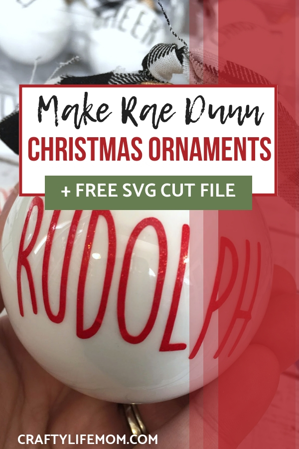 Create your own Rae Dunn inspired Ornaments for your Christmas tree. Download the FREE SVG file - click the link to get access.