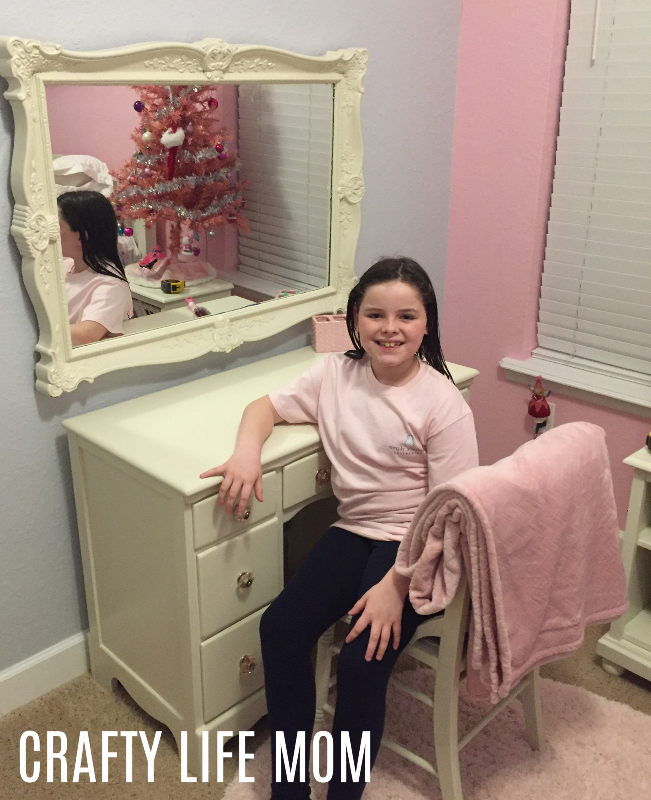 Learn to create a simple DIY girls vanity and desk. This is an inspirational easy to follow tutorial using a garage sale find transformed into something beautiful and girly. It is perfect for a girls room and vanity. With new paint, decoupage, and new hardware this vanity is a beauty.
