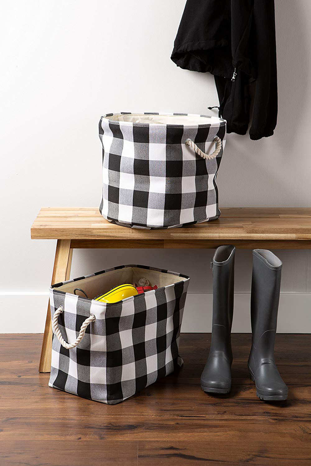 Use this buffalo check storage bin to tote all of your Christmas gifts in it to parties and events. A super fun and trendy way to deliver good cheer!